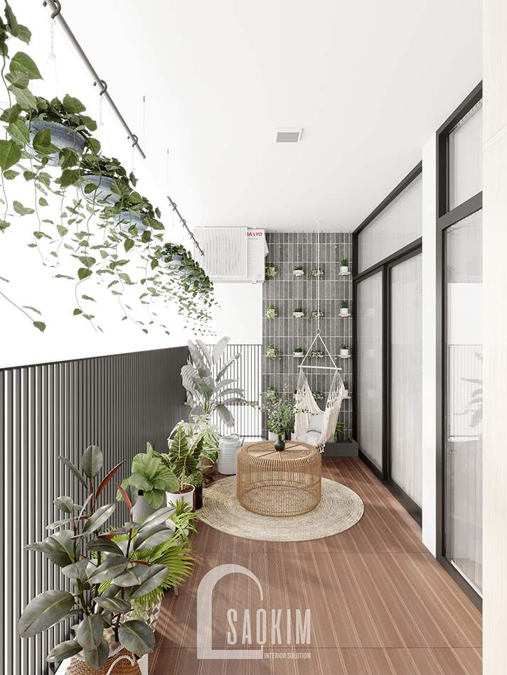 Thiết kế nội thất logia xanh mát cho căn hộ chung cư The Zen Gamuda 157m2