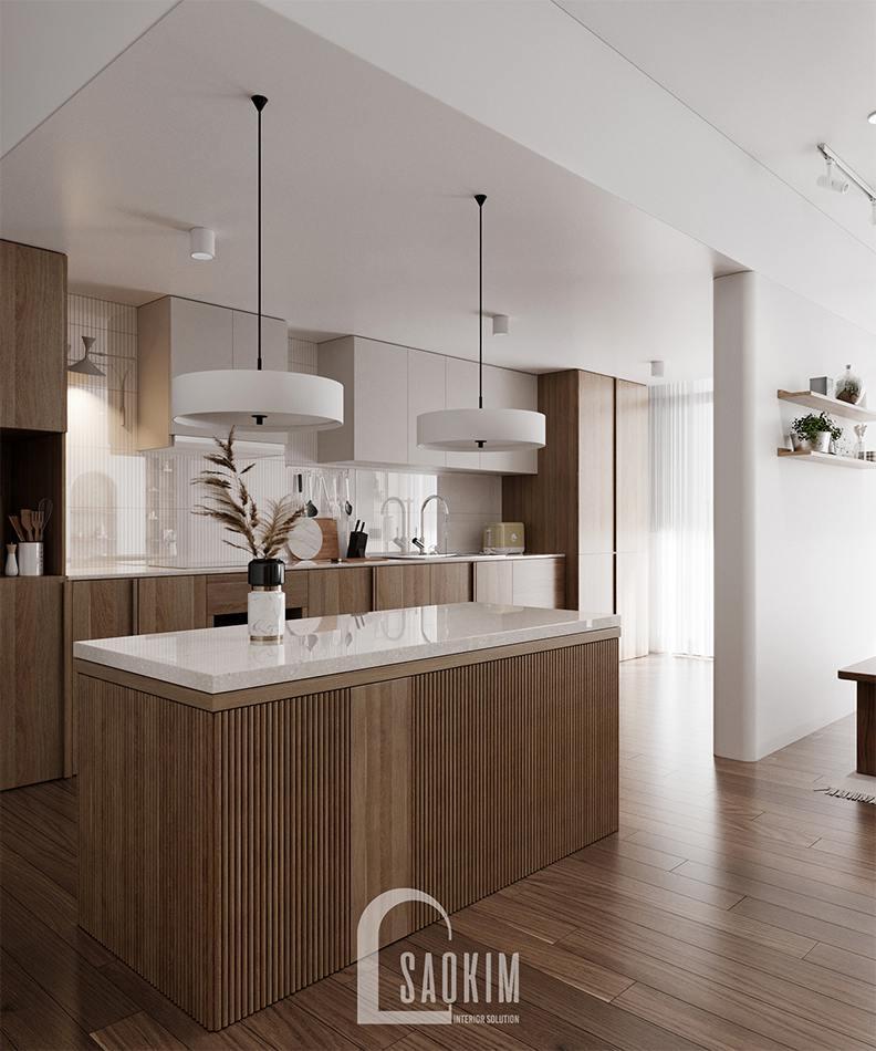 Thiết kế nội thất phòng bếp phong cách Wabi Sabi chung cư The Zen Gamuda 157m2