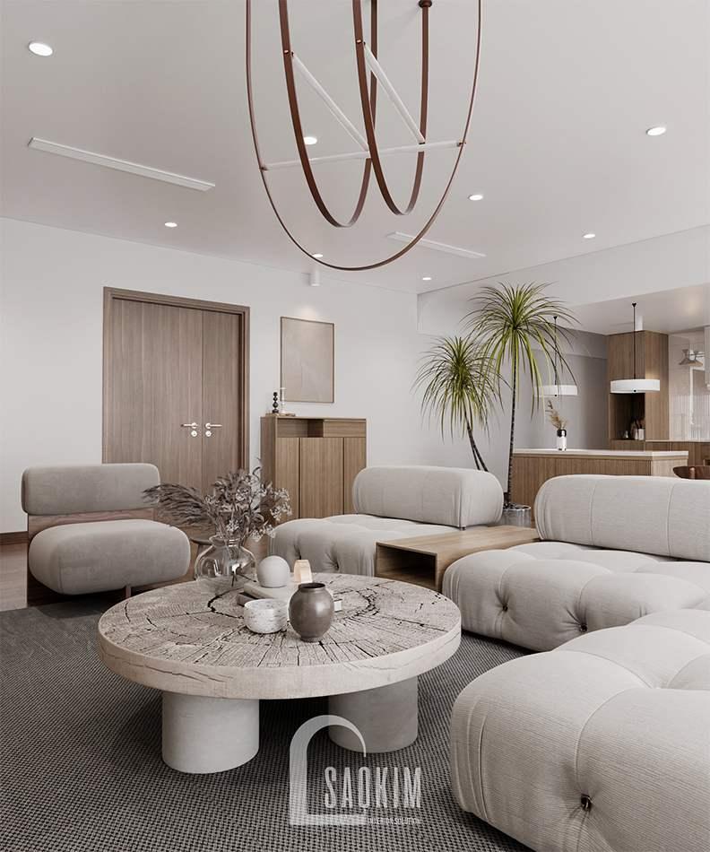 Thiết kế nội thất phòng khách chung cư The Zen Gamuda 157m2 phong cách Wabi Sabi