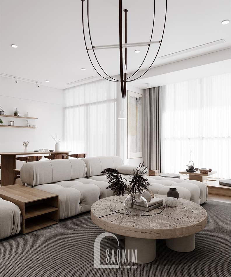 Thiết kế phòng khách chung cư The Zen Gamuda 157m2 phong cách nội thất Wabi Sabi