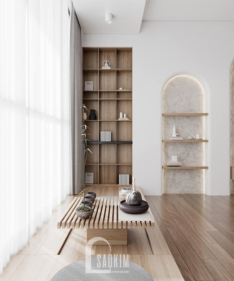 Thiết kế nội thất phong cách Wabi Sabi chung cư The Zen Gamuda 157m2