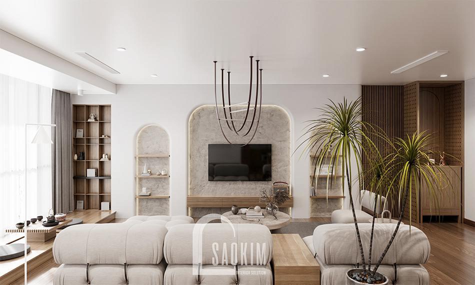 Thiết kế phòng khách chung cư The Zen Gamuda 157m2 phong cách thiết kế Wabi Sabi