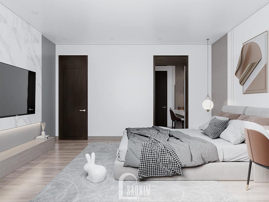 Thiết kế phòng ngủ master chung cư phong cách hiện đại Huyndai Hillstate đẹp tinh tế, cuốn hút
