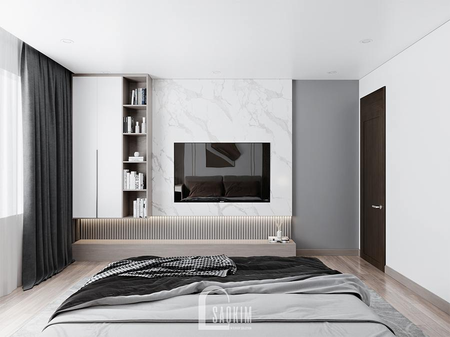 Thiết kế phòng ngủ master chung cư phong cách hiện đại chú trọng đến công năng nội thất, màu sắc