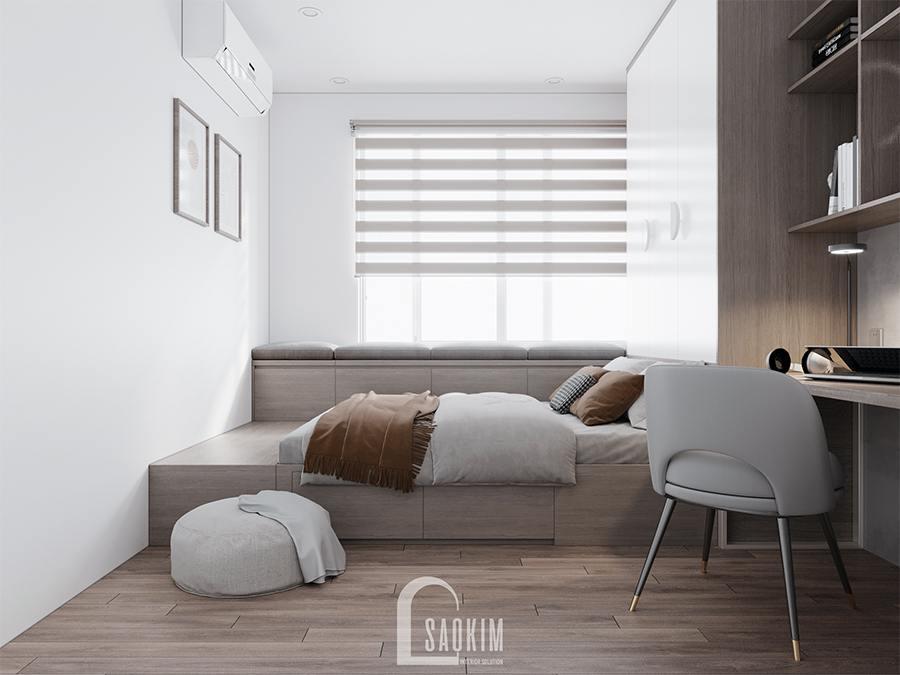 Thiết kế phòng ngủ chung cư cho bé 2 phong cách hiện đại sử dụng hệ tủ liền giường