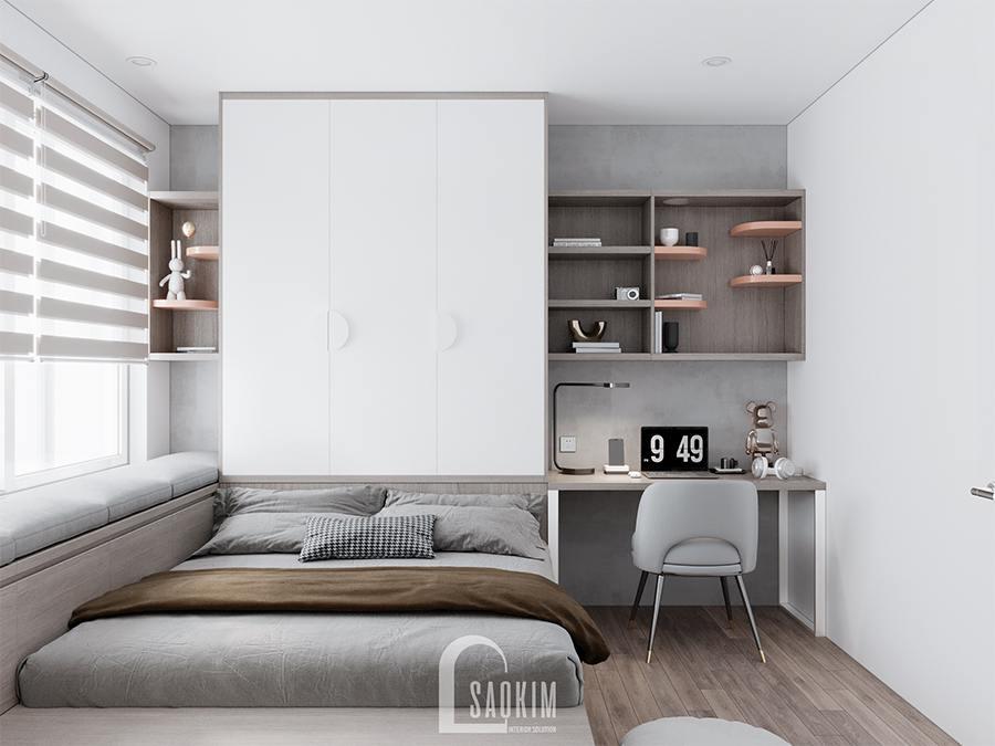 Thiết kế phòng ngủ 4 chung cư phong cách hiện đại sử dụng hệ tủ liền giường