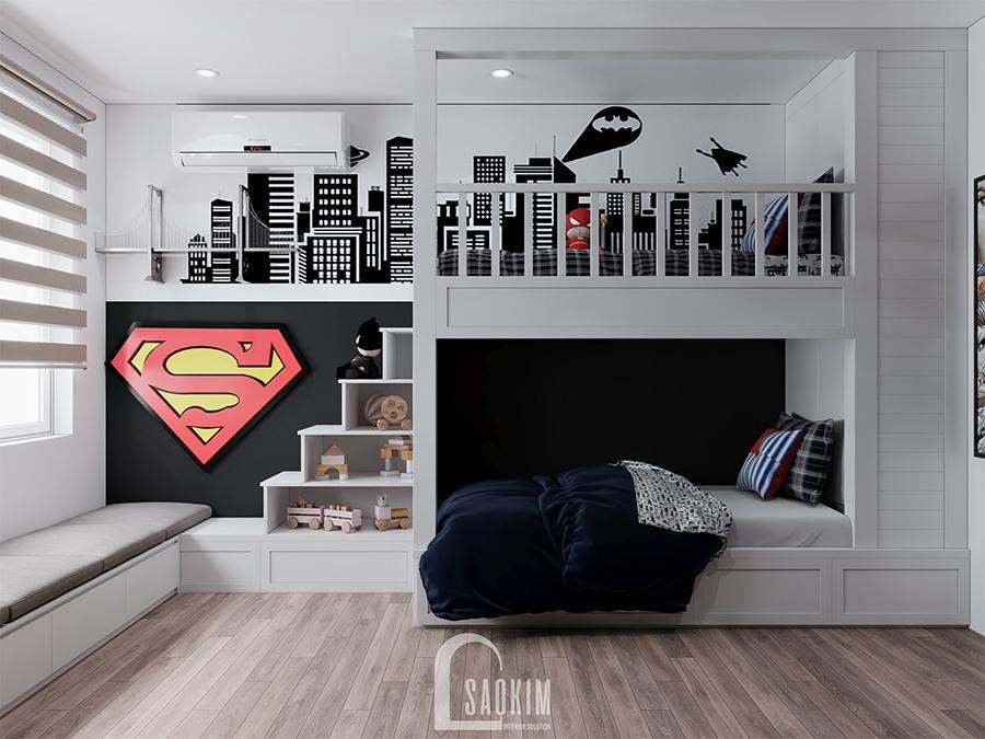Thiết kế phòng ngủ bé trai chung cư phong cách hiện đại Huyndai Hillstate cho bé thích siêu nhân Supermen