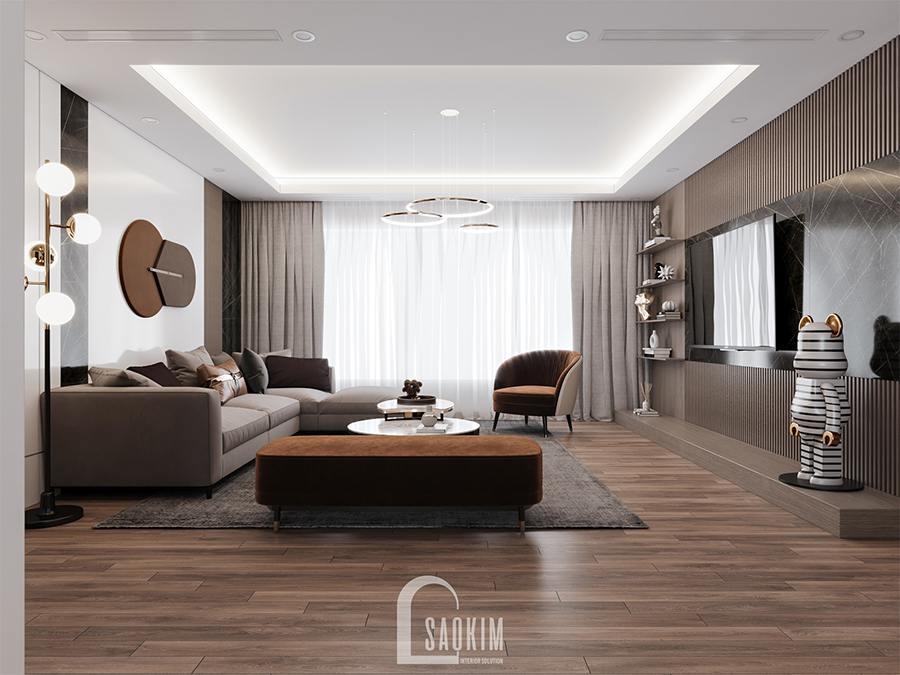 Thiết kế nội thất phòng khách chung cư phong cách hiện đại Huyndai Hillstate mang vẻ đẹp cuốn hút