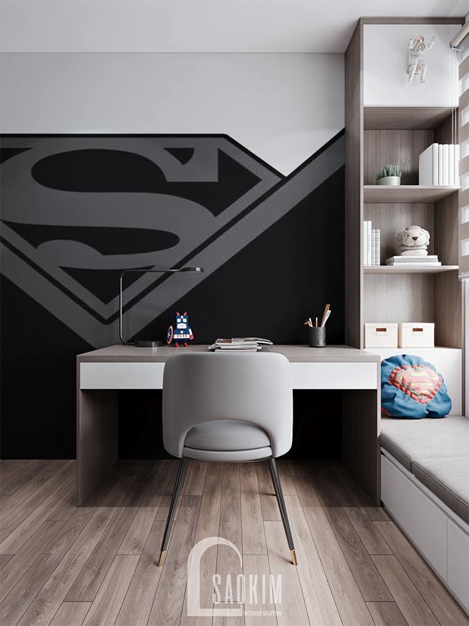 Thiết kế chung cư phong cách hiện đại Huyndai Hillstate - phòng ngủ bé trai