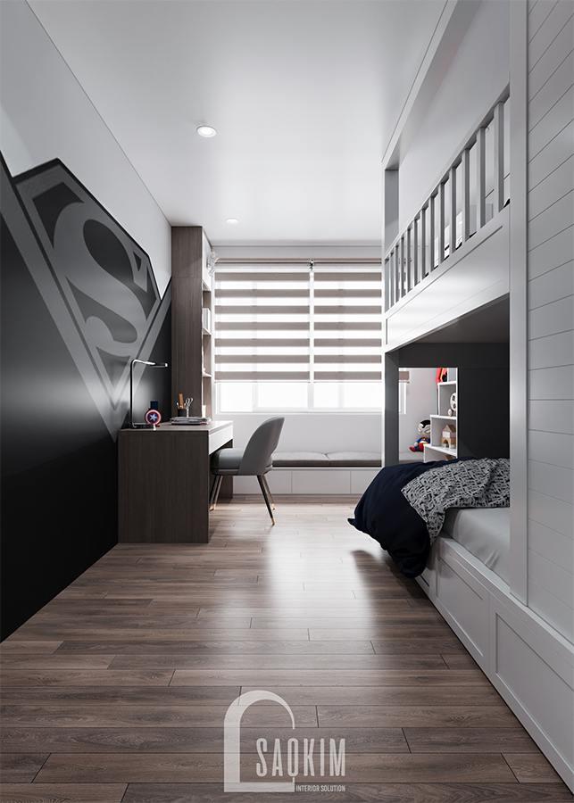 Thiết kế phòng ngủ bé trai chung cư với hệ giường tầng