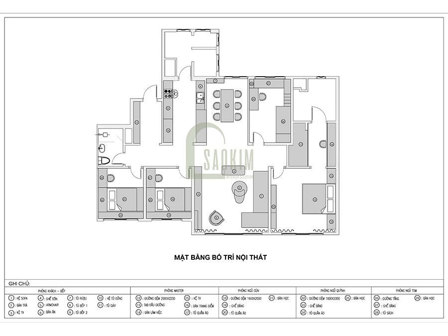 Mặt bằng bố trí thiết kế nội thất chung cư 4 phòng ngủ theo phong cách hiện đại Huyndai Hillstate - 172m2