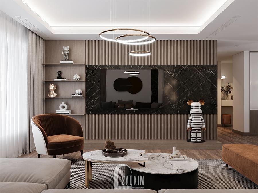 Thiết kế nội thất phòng khách chung cư 4 phòng ngủ phong cách hiện đại Huyndai Hillstate kết hợp gam màu trắng, nâu, xám