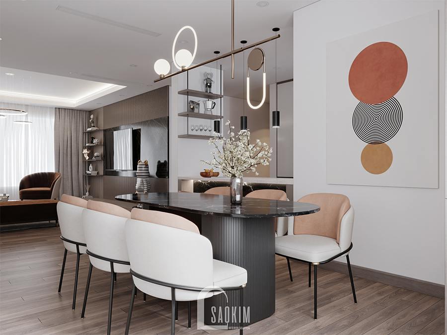 Thiết kế phòng ăn chung cư phong cách hiện đại Huyndai Hillstate đẹp cuốn hút với điểm nhấn màu sắc