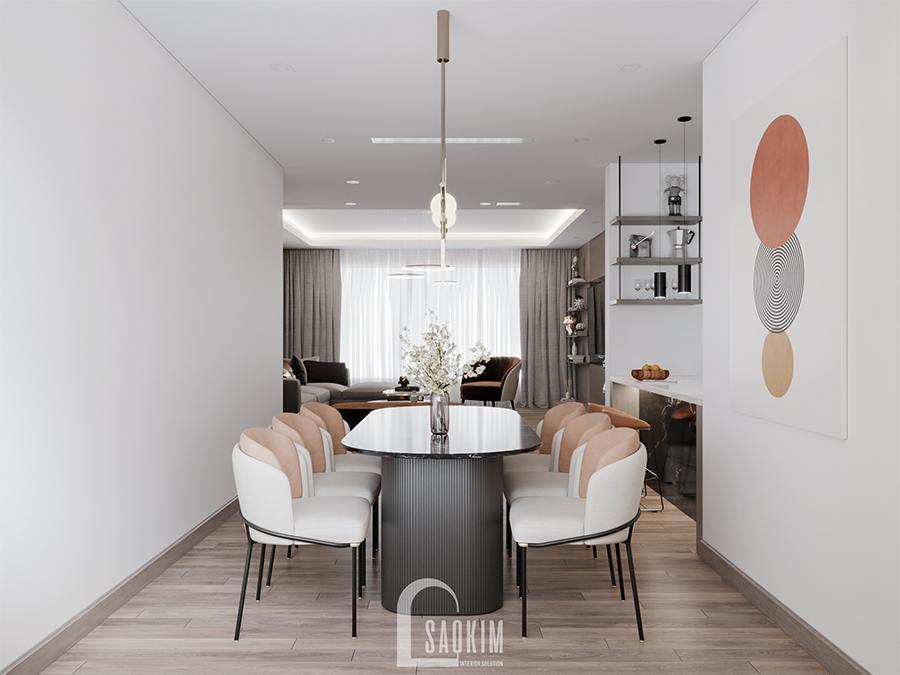 Thiết kế phòng ăn chung cư phong cách hiện đại Huyndai Hillstate là sự kết hợp của gam màu trắng, đen, cam