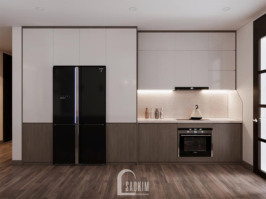 Thiết kế phòng bếp chung cư phong cách hiện đại Huyndai Hillstate