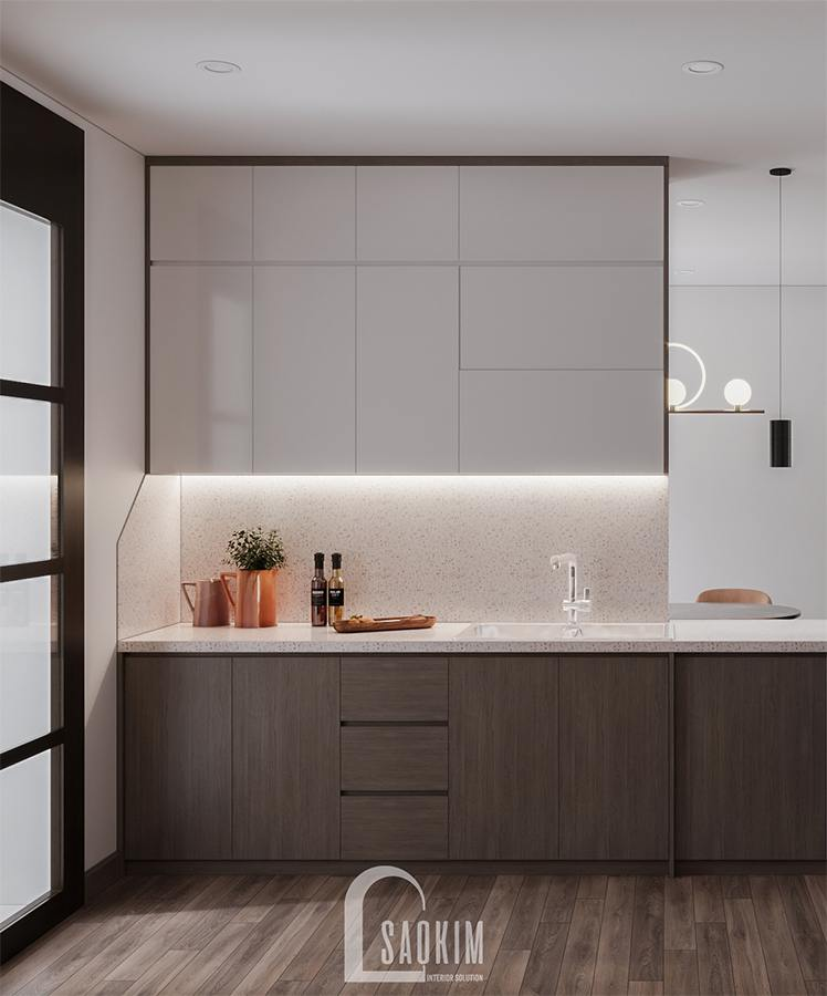 Thiết kế phòng bếp chung cư phong cách hiện đại Huyndai Hillstate khiến ai cũng muốn vào bếp
