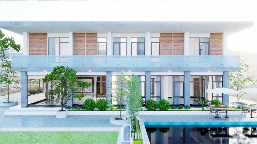 Thiết kế biệt thự nghỉ dưỡng đẹp trên khu đất rộng 9000m2 tại Ba Vì theo phong cách hiện đại