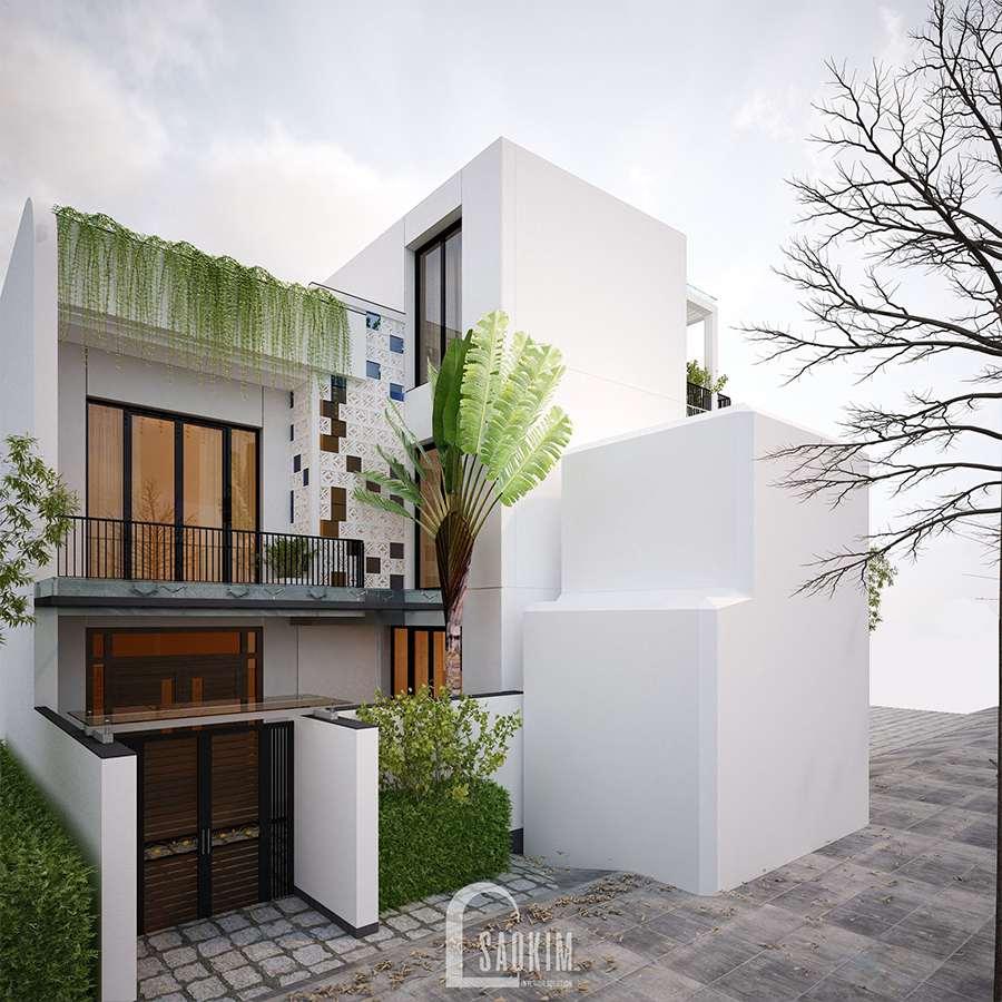Thiết kế kiến trúc nội thất nhà phố hiện đại đẹp 3 tầng Chúc Sơn - Chương Mỹ lựa chọn gam màu trắng cho diện tường