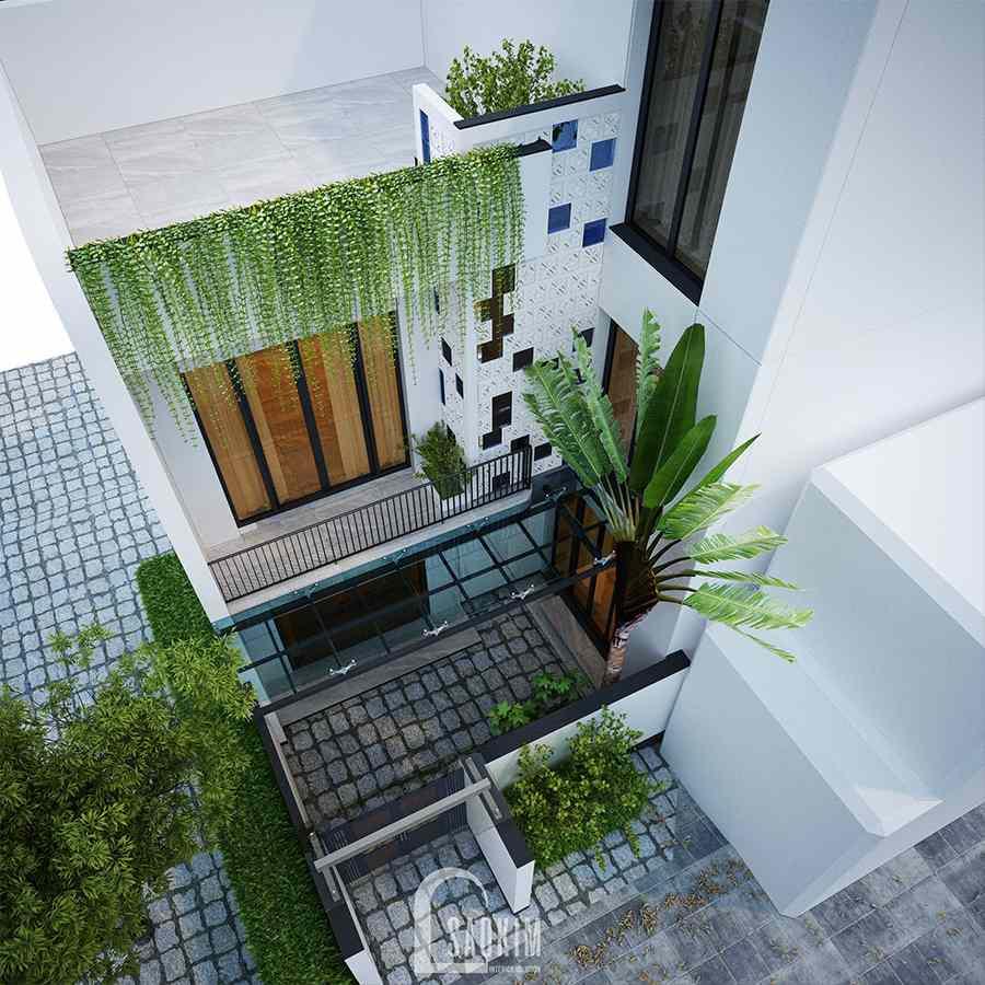 Thiết kế kiến trúc nội thất nhà phố hiện đại đẹp 3 tầng Chúc Sơn - Chương Mỹ tạo điểm nhấn với gạch ốp màu xanh nước biển và màu nâu