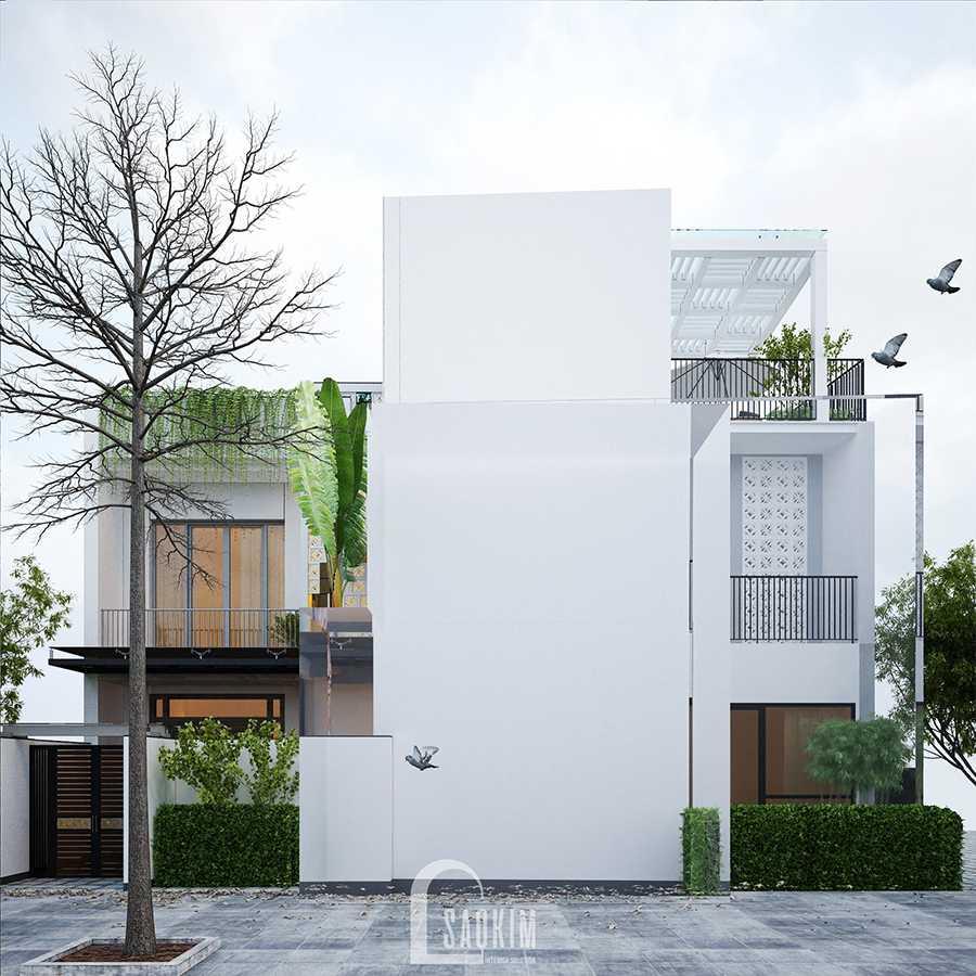 Thiết kế kiến trúc nhà phố 3 tầng phong cách hiện đại với gam màu trắng làm chủ đạo