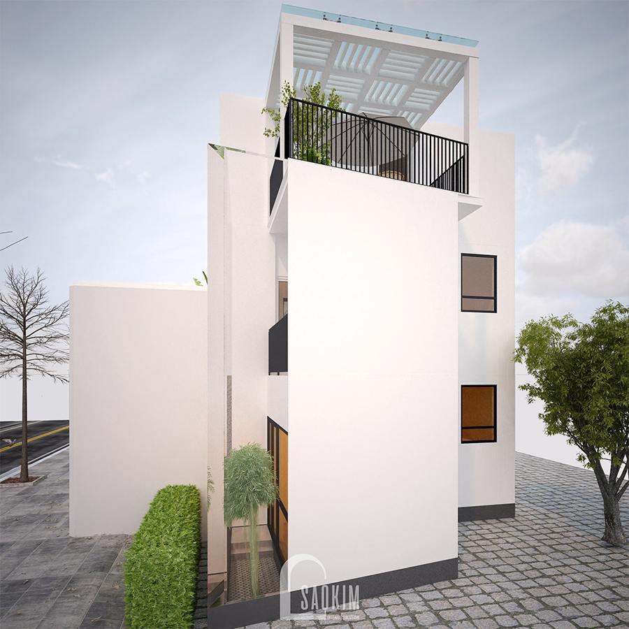 Thiết kế kiến trúc nội thất nhà phố 3 tầng phong cách hiện đại