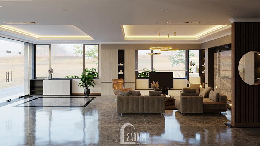 Thiết kế phòng khách biệt thự nghỉ dưỡng tại Ba Vì tận dụng tối đa ánh sáng tự nhiên