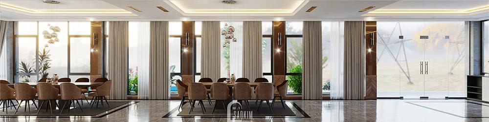 Thiết kế phòng ăn biệt thự nghỉ dưỡng đẹp tại Ba Vì theo phong cách hiện đại