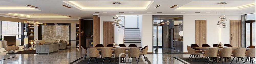 Các không gian thiết kế nội thất villa liên kết với nhau