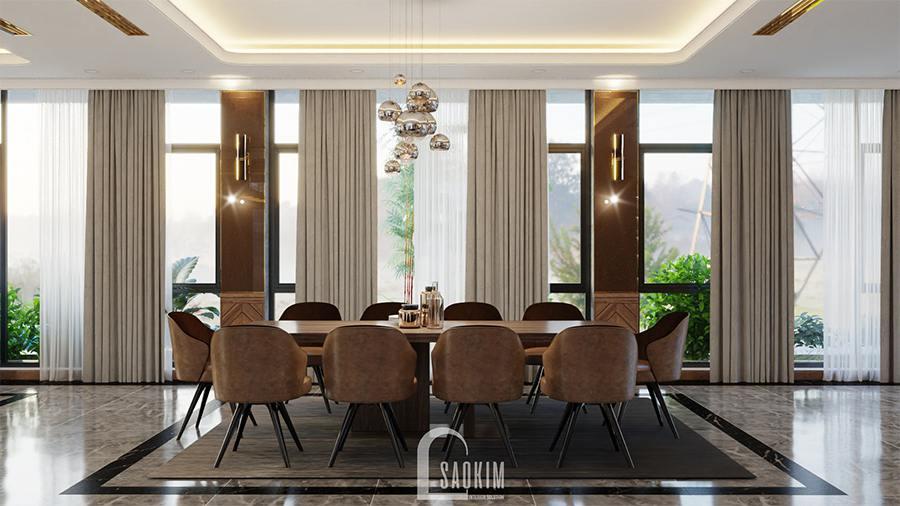 Sự kết hợp hoàn hảo của đồ nội thất, màu sắc và ánh sáng khiến cho phòng ăn thêm phần sang trọng