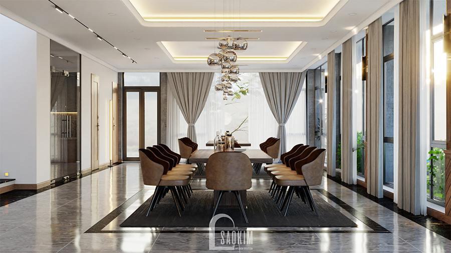 Đồ nội thất gam màu nâu từ gỗ và ghế bọc da làm cho không gian phòng ăn thêm phần ấm cúng