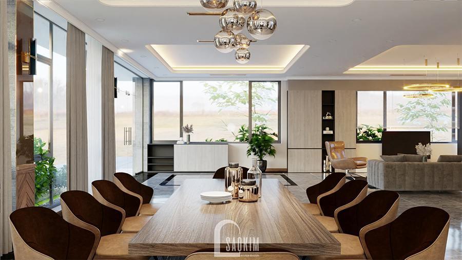 Thiết kế phòng ăn biệt thự nghỉ dưỡng theo phong cách hiện đại gam màu nâu