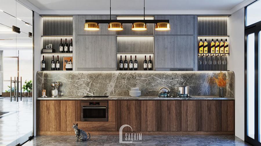 Thiết kế phòng bếp villa ấm áp cuốn hút khiến bất kỳ ai cũng muốn vào bếp