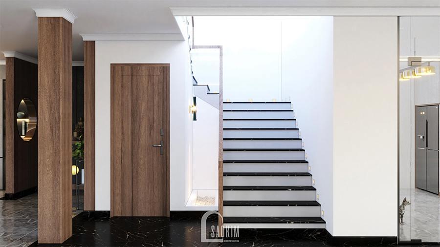Cầu thang lên tầng hai của biệt thự