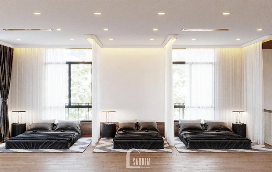 Mỗi không gian ngủ nhỏ đều có đầy đủ tiện nghi cần thiết như đệm, chăn gối, tab đầu giường,...