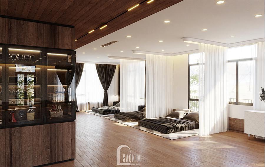 Rèm được sử dụng ngăn không gian, tạo khoảng riêng tư cho mỗi giường ngủ