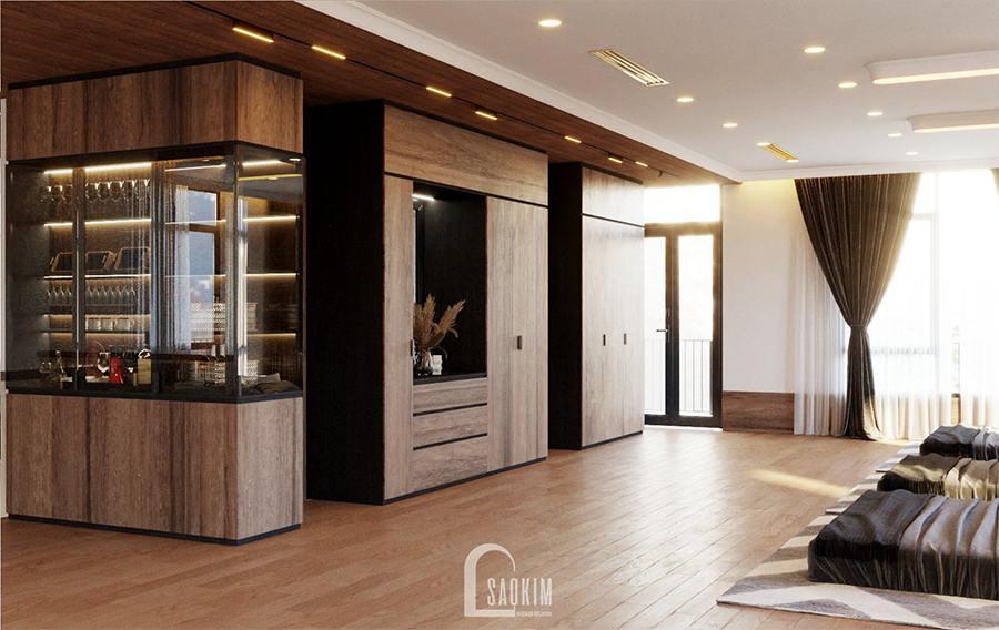 Thiết kế phòng ngủ chung biệt thự nghỉ dưỡng tại Ba Vì theo phong cách hiện đại