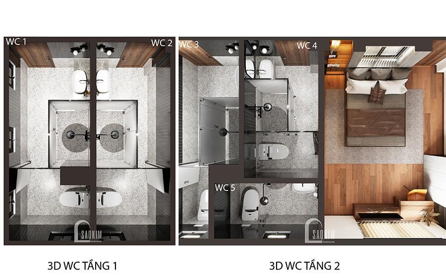 Căn biệt thự thiết kế 5 nhà tắm đảm bảo yêu cầu sử dụng khi có đông người
