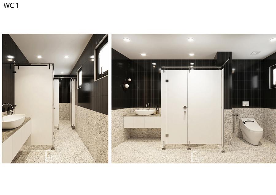 Thiết kế wc1 biệt thự nghỉ dưỡng đẹp tại Ba Vì với gam màu trắng đen