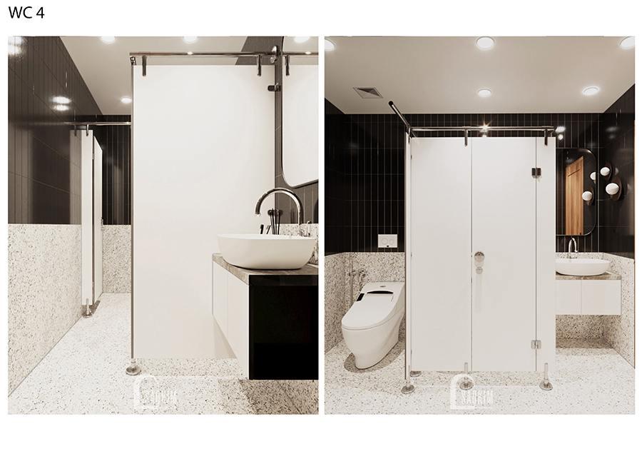 Thiết kế phòng tắm của phòng ngủ riêng biệt thự nghỉ dưỡng tại Ba Vì