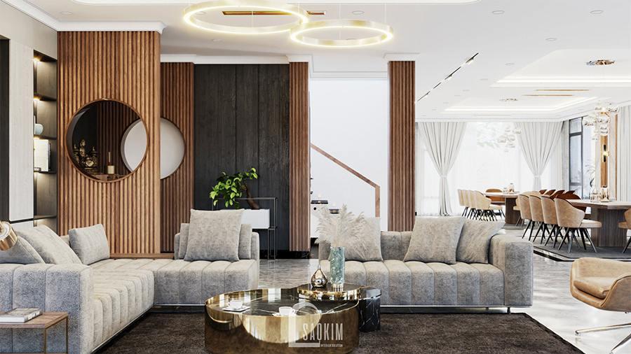 Thiết kế kiến trúc nội thất biệt thự nghỉ dưỡng lựa chọn không gian mở cho phòng khách và phòng ăn