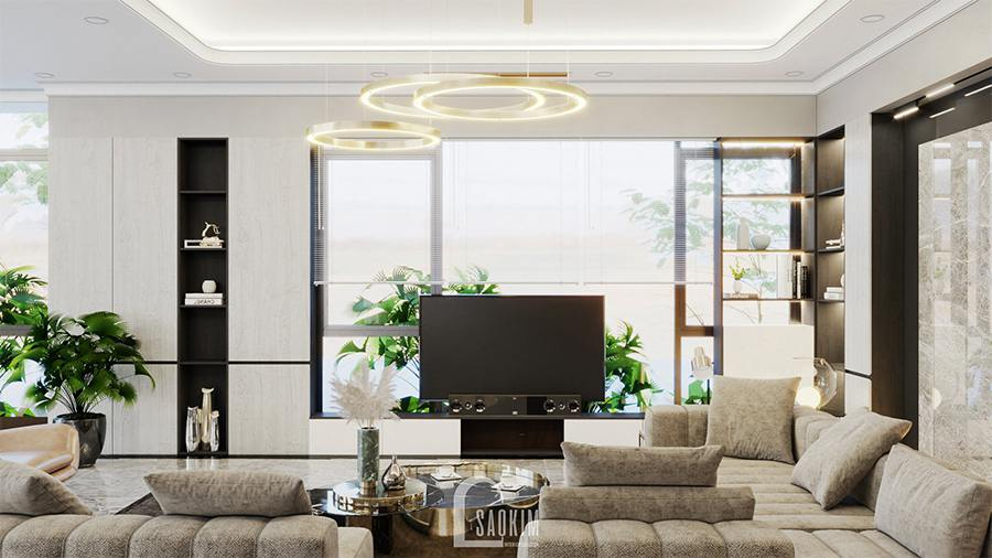 Thiết kế phòng khách biệt thự nghỉ dưỡng hiện đại tại Ba Vì kết hợp giữa các gam màu trung tính