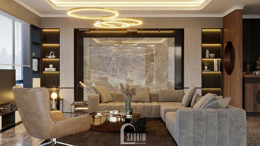 Thiết kế biệt thự nghỉ dưỡng đẹp theo phong cách hiện đại lựa chọn vật liệu như gỗ óc chó, đá hoa cương, da,...