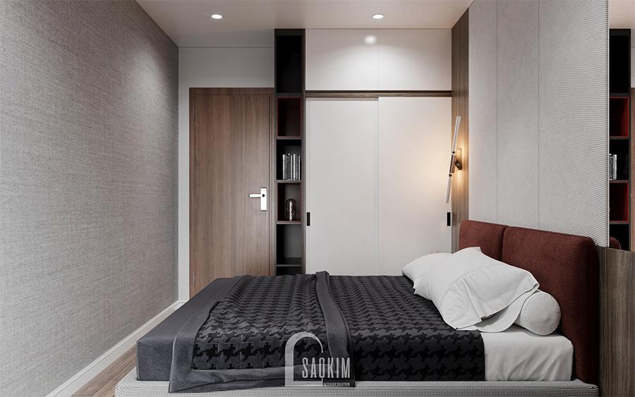 Thiết kế nội thất phòng ngủ master chung cư 85m2 Moon Tower Tây Hồ Residence theo phong cách hiện đại