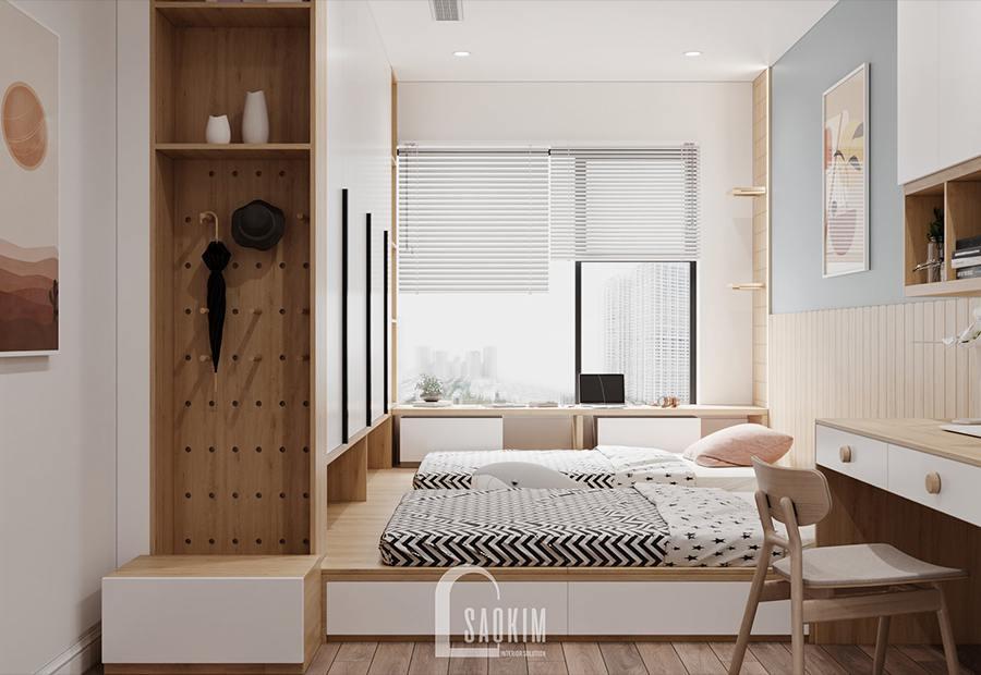 Thiết kế nội thất phòng ngủ chung cư cho bé - Moon Tower Tây Hồ Residence lựa chọn gam màu xanh pastel làm điểm nhấn