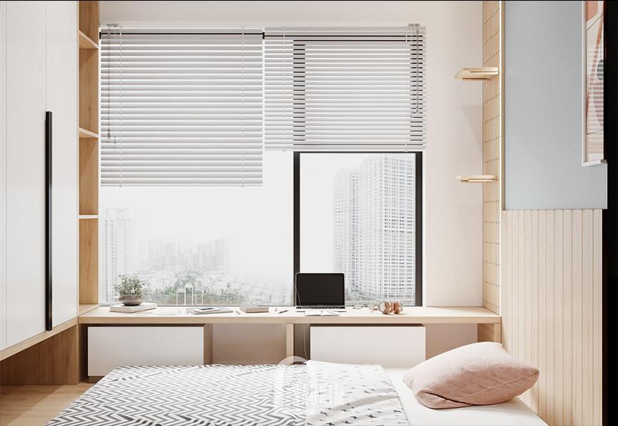 Thiết kế nội thất phòng ngủ chung cư cho hai bé - Moon Tower Tây Hồ Residence bố trí bàn đọc sách nhỏ cạnh cửa sổ