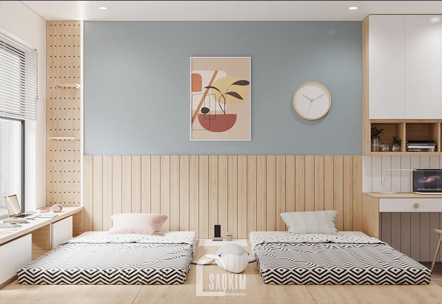Thiết kế nội thất phòng ngủ chung cư cho hai bé - Moon Tower Tây Hồ Residence với giường đôi cho 2 bé