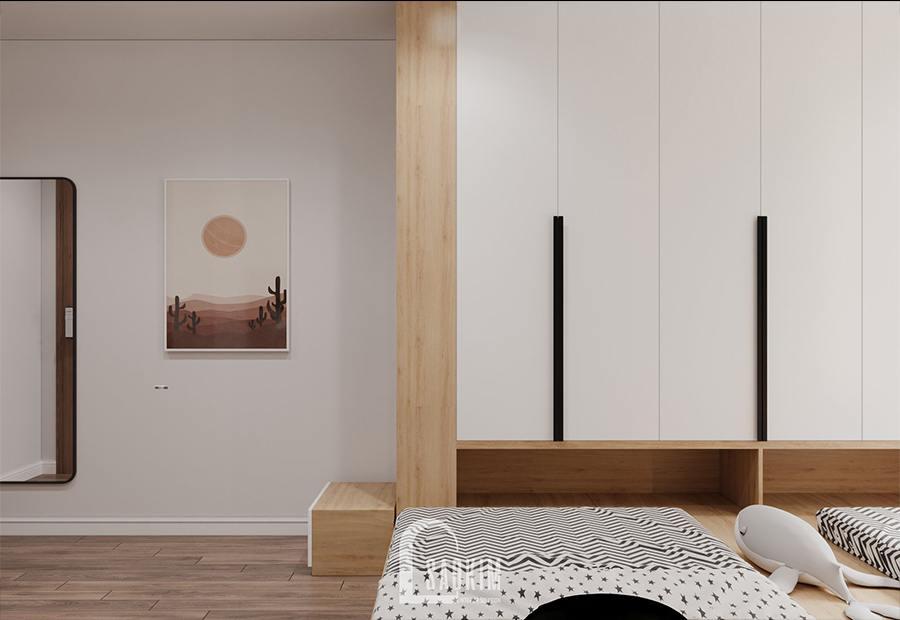Thiết kế nội thất phòng ngủ chung cư cho bé - Moon Tower Tây Hồ Residence với hệ tủ liền giường
