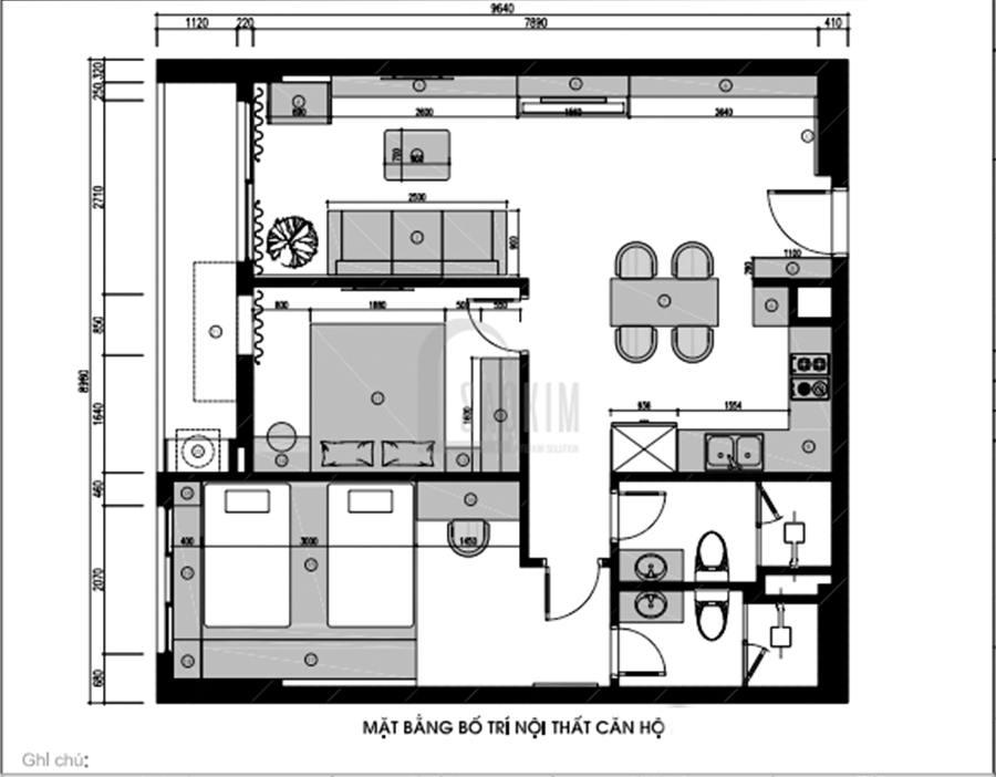 Mặt bằng bố trí nội thất chung cư 85m2 2 phòng ngủ Moon Tower Tây Hồ Residence