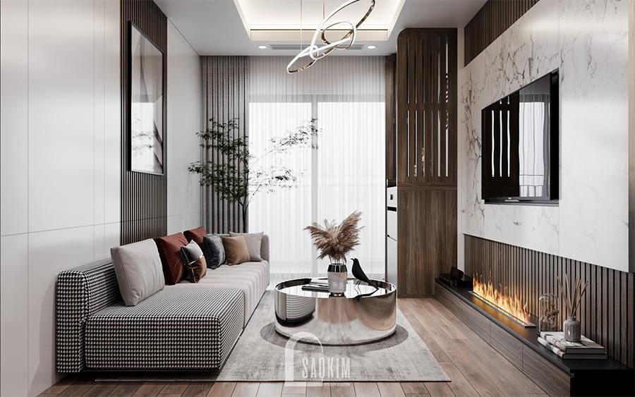Thiết kế nội thất phòng khách chung cư 85m2 2 phòng ngủ Moon Tower Tây Hồ Residence theo phong cách hiện đại