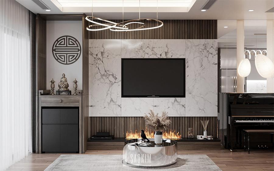 Thiết kế nội thất phòng khách chung cư 85m2 2 phòng ngủ Moon Tower Tây Hồ Residence mang vẻ đẹp hiện đại, sang trọng